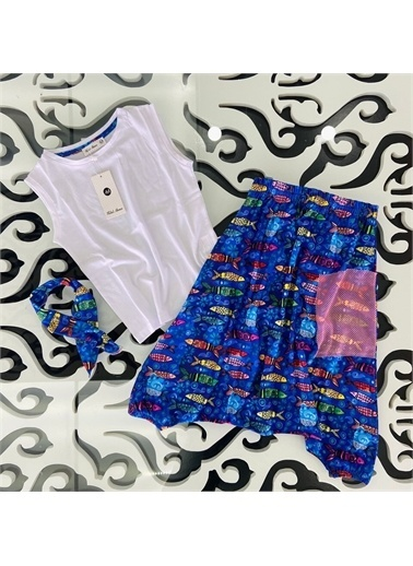 Hilal Akıncı Kids Kiz Çocuk Balik Desenlı Şalvar Pantolon Basic Tışört Ikılı Takim Mavi